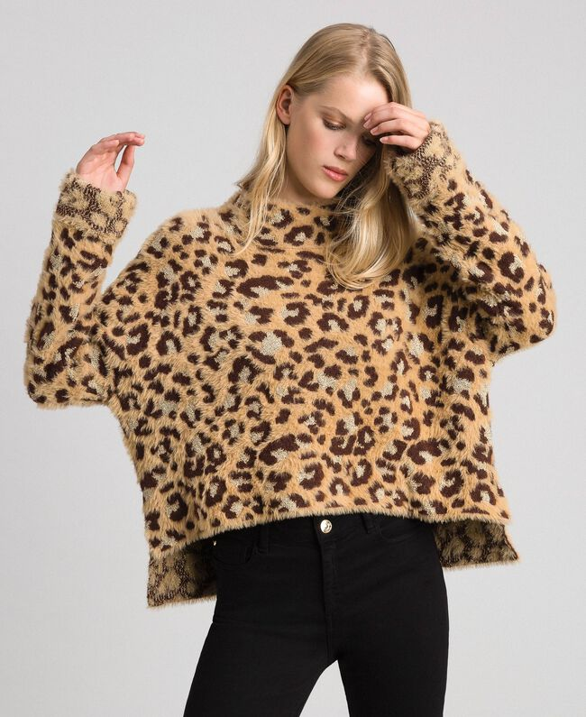 Animal print jacquard jumper with lurex Leopard Print Jacquard Woman 192TT3261-01