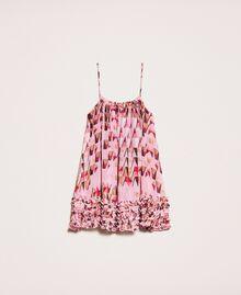 """Топ из набивного жоржета, отделанный мелким рюшем Принт Геометрический Розовый """"Конфета"""" женщина 201ST2184-0S"""