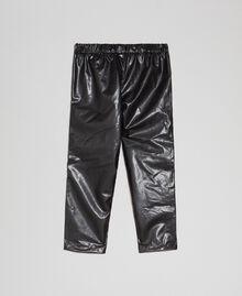 Leggings aus Lederimitat mit Strass Schwarz Kind 192GB2010-0S