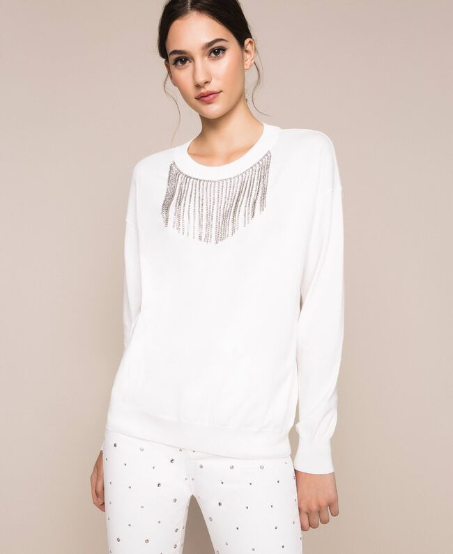 Jumper with rhinestone fringes White Snow Woman 201TP3081-01