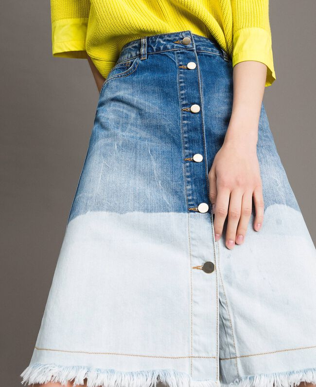 Dip-dye denim skirt Bleached Shades Woman 191TT2054-04