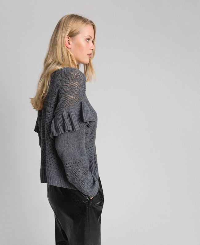 Pull ajouré en laine et cachemire Gris Mélangé Femme 192TP3201-03