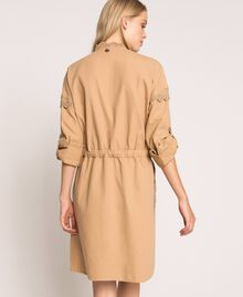"Canvas dress with broderie anglaise ""Dune"" Beige Woman 201TP2014-04"