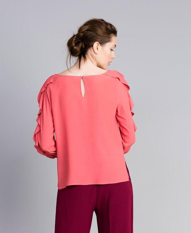 Silk blend blouse with frills Royal Pink Pink Woman PA828B-03