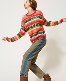 "Wool blend jumper with sequins Multistripe / ""Colour Sequins"" Woman 202MP3190-02"