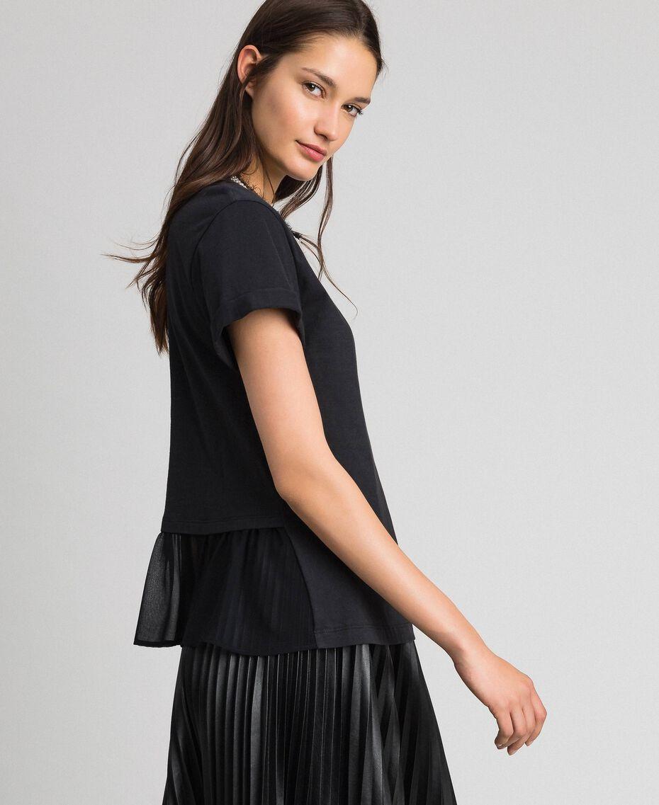 T-shirt con collo gioiello di perle Nero Donna 192TT2562-02