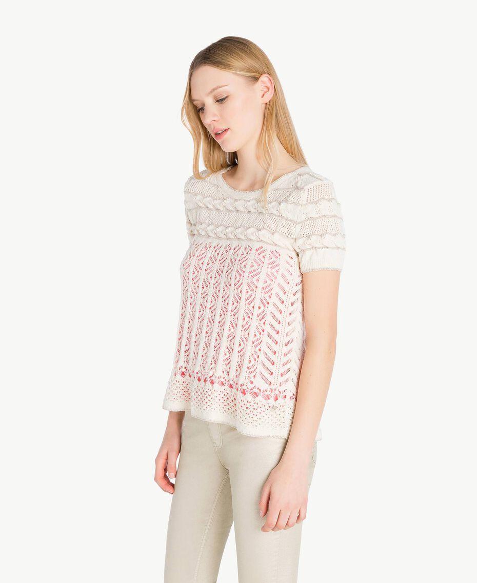 Openwork lurex jumper Pale Ecru Woman PS836C-02