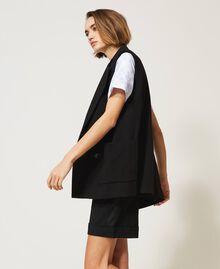 Oversize-Weste mit Taschen Schwarz Frau 211MT2360-04