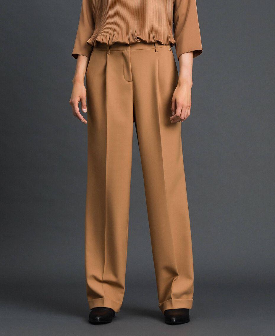 Pantalon en laine technique Camel Femme 192TT2452-02