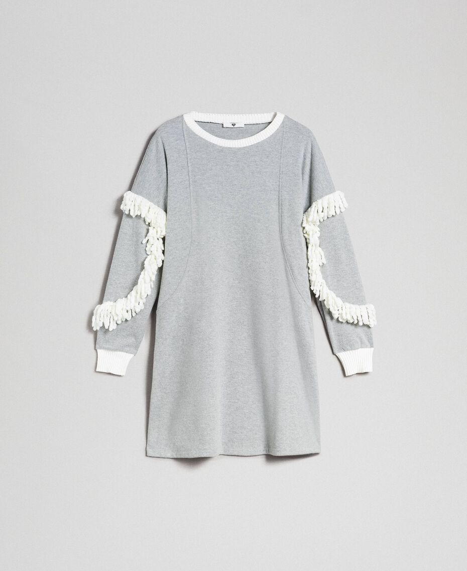 Chemise de nuit avec franges Gris Mélangé Femme 192LL2EEE-0S
