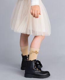 Strümpfe aus Stretch-Baumwolle Karamellbraun Kind GA8ABA-0S