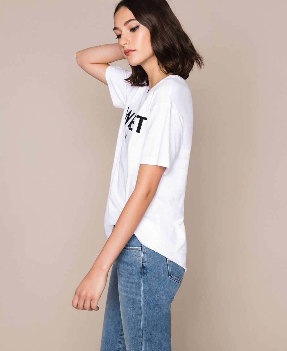 T-shirt avec logo brodé Violet «Ballerine» Femme 201TP2081-01