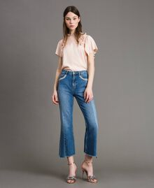 Bell bottom jeans with contrasting inserts Medium Blue Denim Woman 191TP2533-02