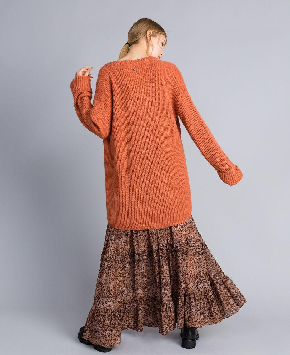 Cardigan aus Mohairmischung Redwood-Rot Frau SA83BC-02