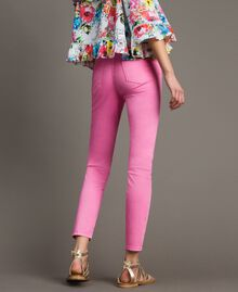 Skinny trousers with rhinestone heart Fluorescent Pink Woman 191MT2446-03
