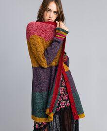 Maxicardigan aus Moulinégarn in Color-Block-Verarbeitung Mehrfarbiger Mouliné Frau YA831A-04