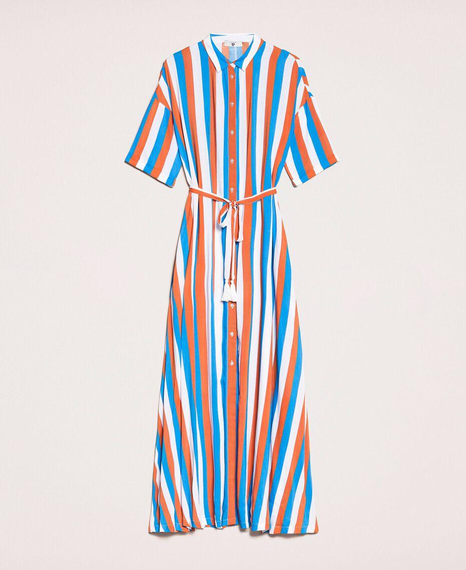 "Long striped shirt dress Multicolour ""Bay"" Blue / ""Choco"" Brown / Optical White Woman 201LM2FBB-0S"