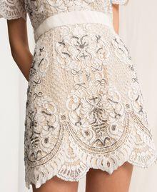 Кружевное платье с вышивками Слоновая кость женщина 201TP2462-04