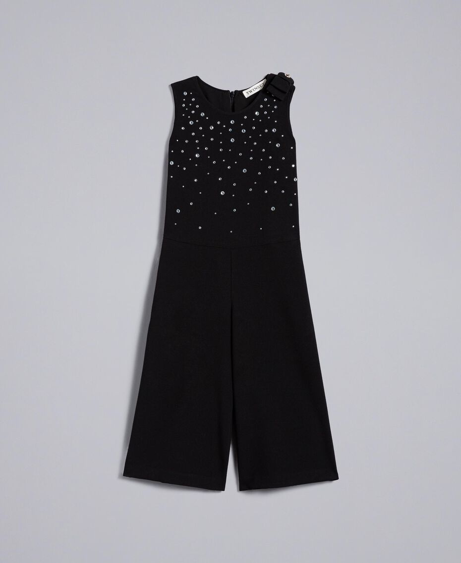 Crêpe jumpsuit with rhinestones Black Child GA82DN-01
