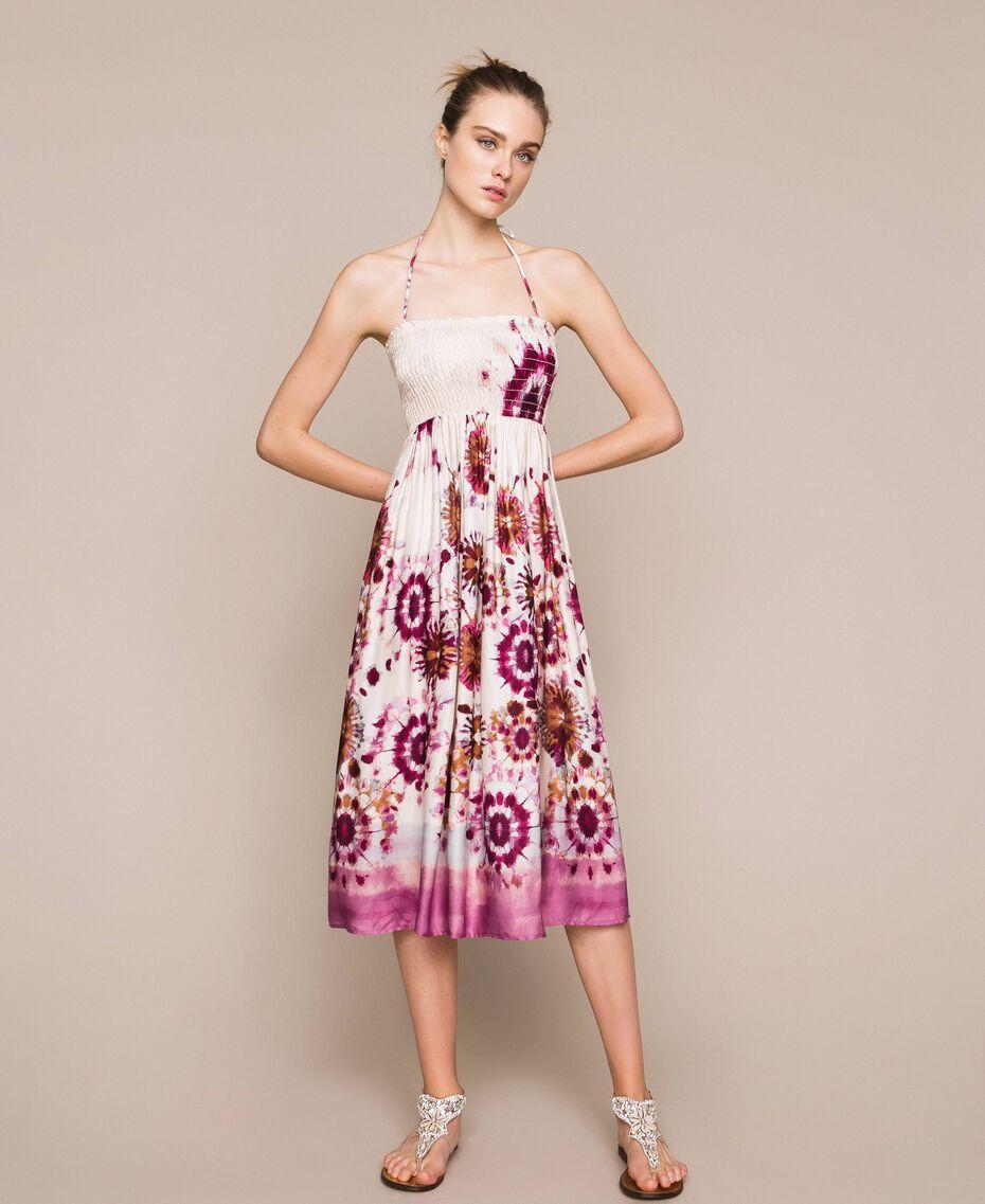 Юбка-платье из набивного атласа Принт Неровная окраска Кокетливая Роза женщина 201LB2GLL-05