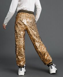 "Velvet and sequin jogging trousers ""Spelt"" Beige Child 192GJ2092-04"