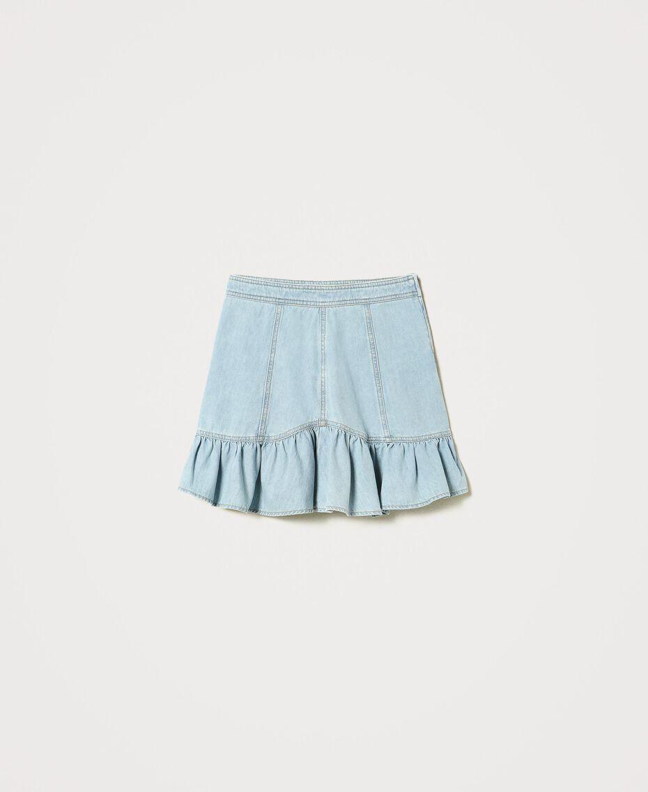Denim miniskirt with flounce Light Denim Woman 211TT2375-0S