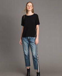 Blouse avec strass et dentelle Noir Femme 191MP2451-02
