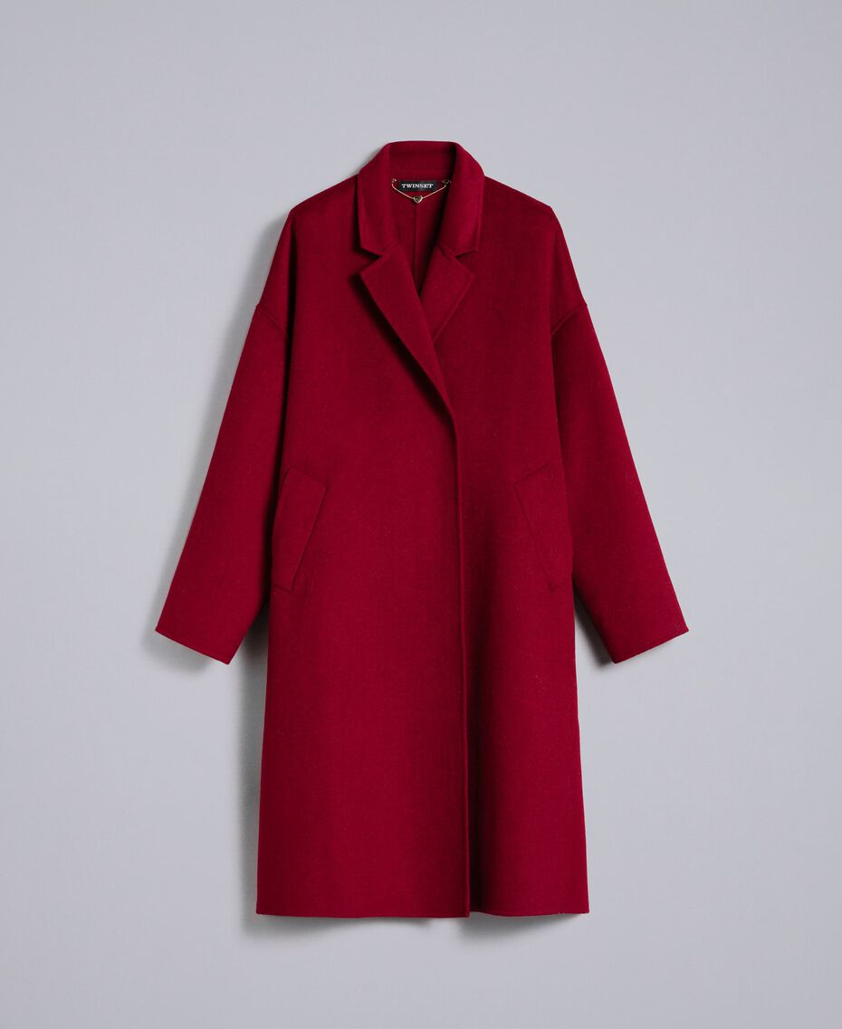 Cappotto lungo in panno double Bordeaux Donna PA8262-0S