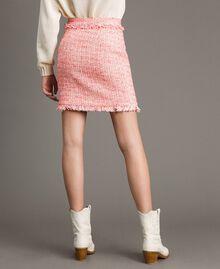"Minirock aus Tweed mit Fransen Multicolour ""Wild Rose"" Pink Bouclé Frau 191TP2527-03"