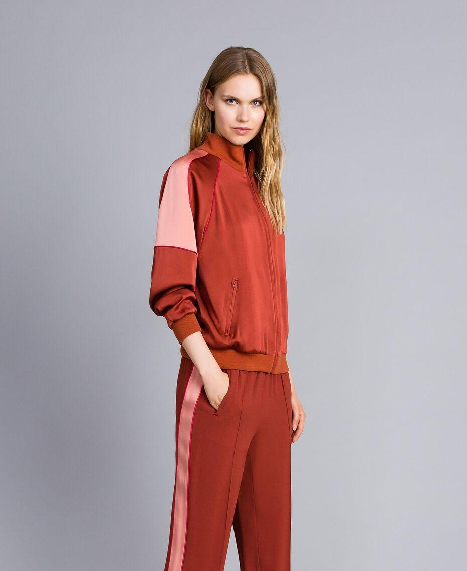 Sweat bicolore en envers satin Bicolore Orange Brûlée / Rose «Sable Rose» Femme TA824U-02