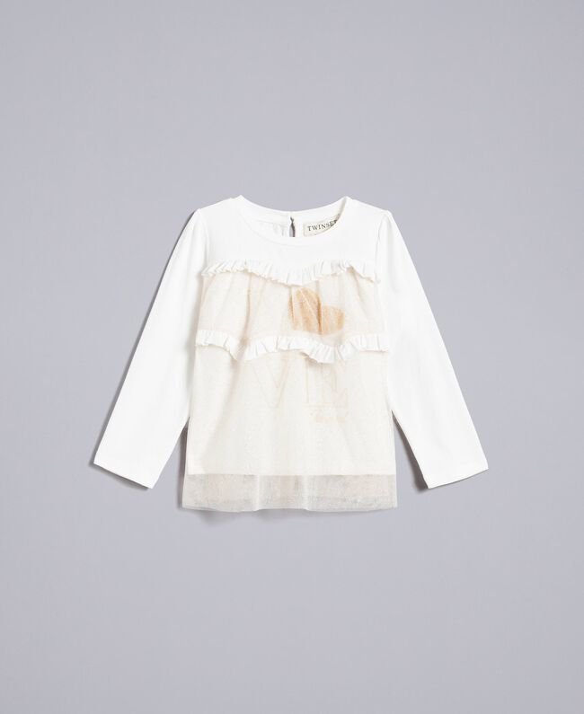 Jersey and tulle blouse Bicolour White / Gold Lurex Child FA82L1-01