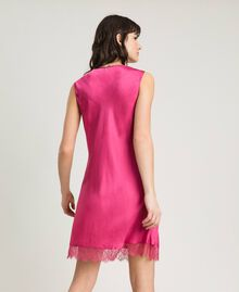 Slip dress in satin and lace Rose Blossom Woman 191LL2DBB-03