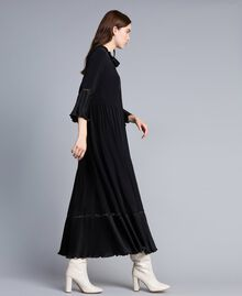 Long silk blend pleated dress Black Woman TA823N-02