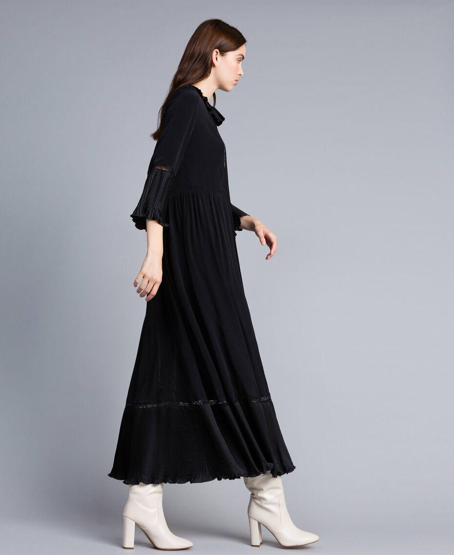 Robe longue en soie mélangée avec plissé Noir Femme TA823N-02