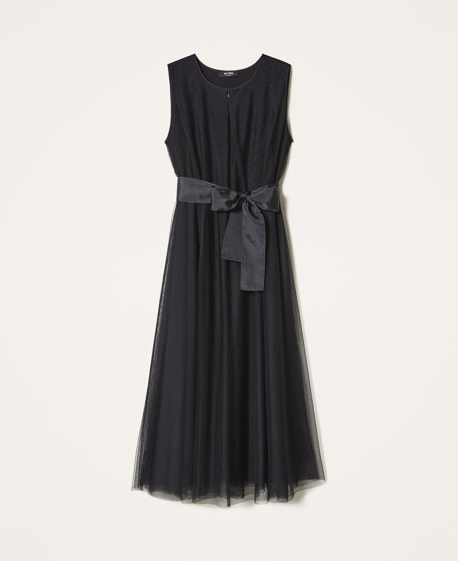 Tulle dress with satin belt Black Woman 202MP201C-0S