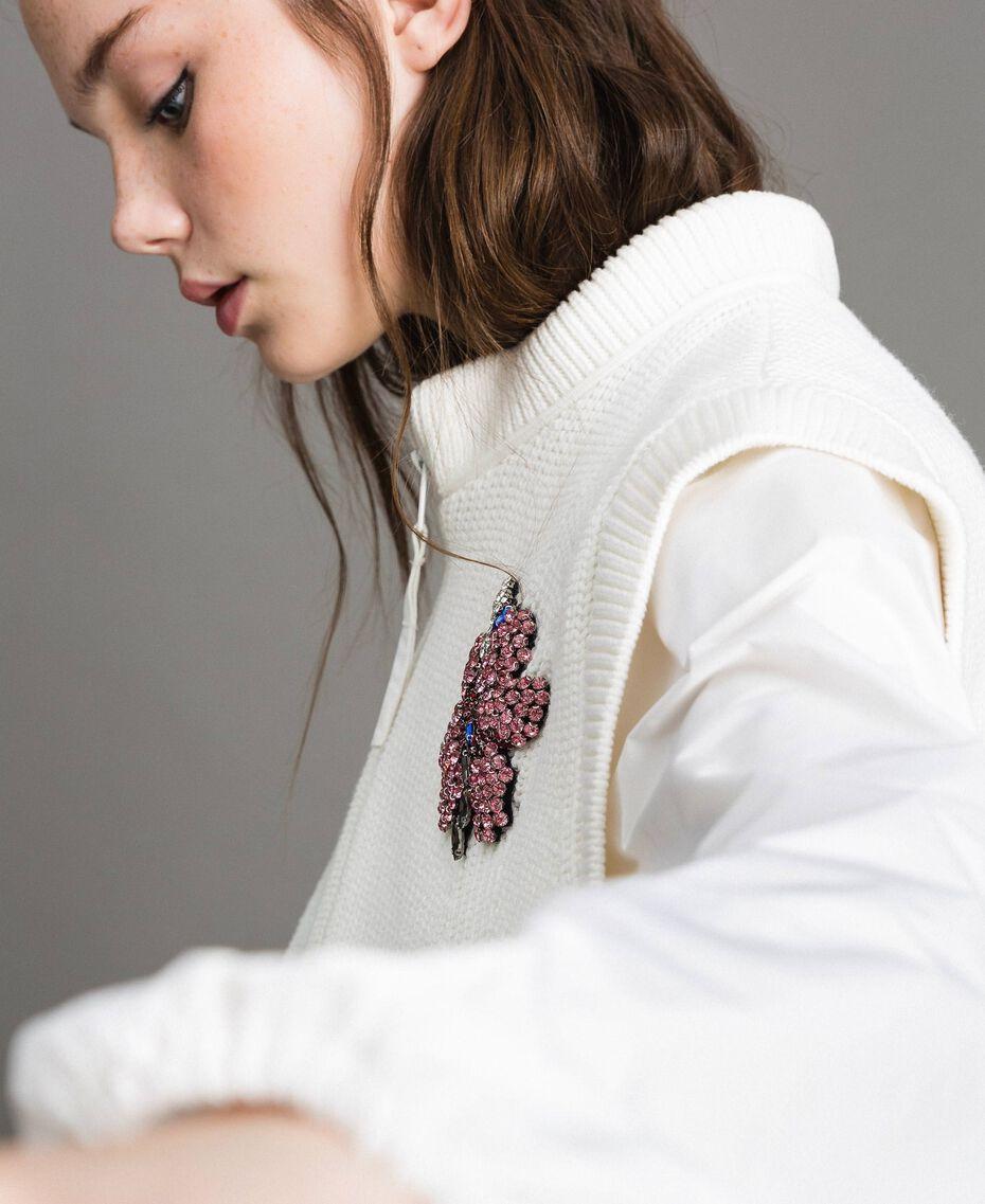 "Taffeta and knit sweatshirt ""Silk"" White Woman 191TP2041-06"
