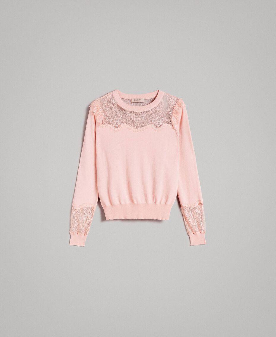 Трикотажная кофта с кружевными деталями Розовый Жемчуг женщина 191TP3031-0S