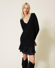 Robe en laine mélangée avec clous et franges Noir Femme 212TP3191-02