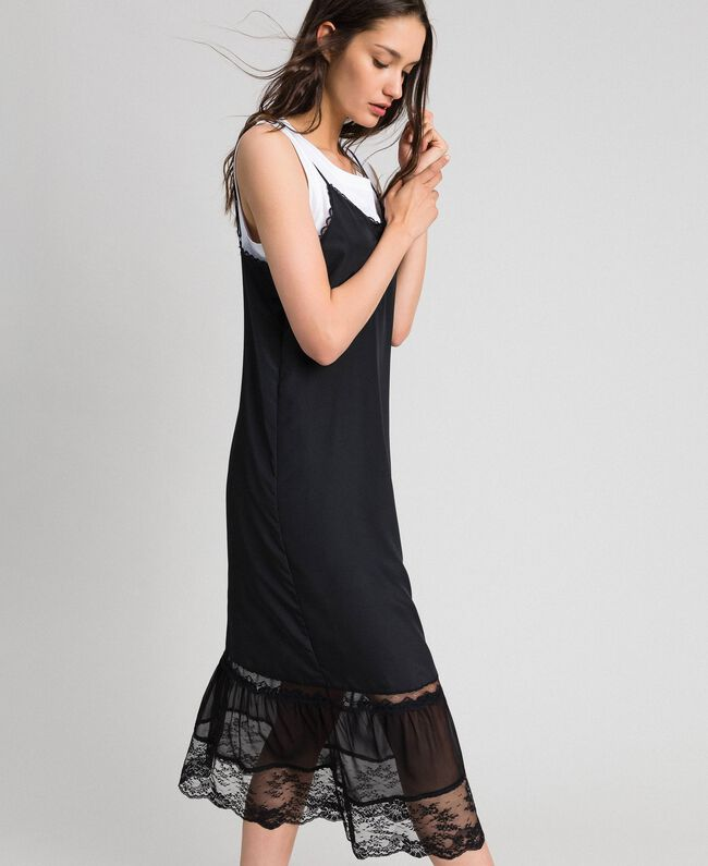 Long Slip Dress With Lace And Top Woman Black Twinset Milano