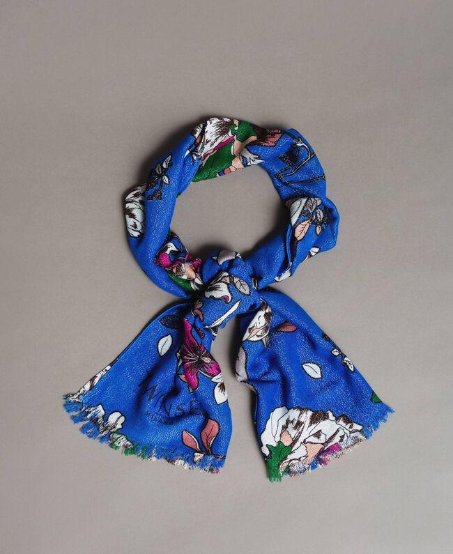 Lurex-Viskose-Schal mit Blumenmuster Motiv Windblumen Kornblumenblau Frau 191TA4368-01