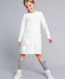 Gilet long en maille avec cœurs Off White Enfant GA83DA-0S