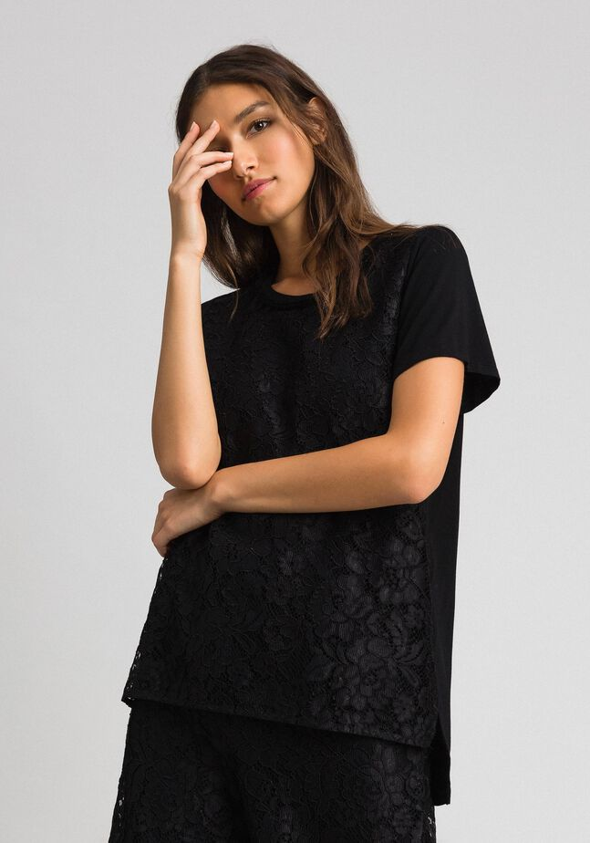 Macramé lace inlay blouse