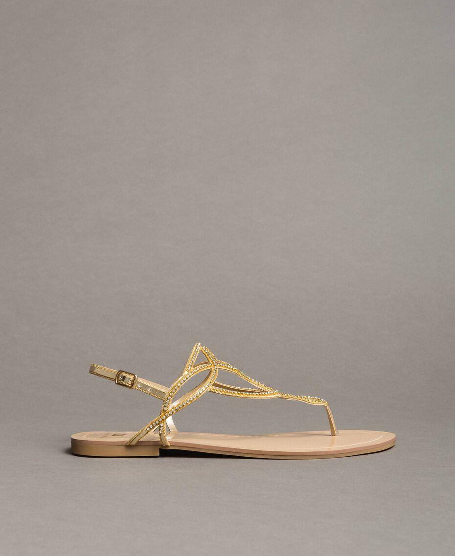 """Sandales plates avec strass Or """"Doré"""" Femme 191LM4ZSS-02"""
