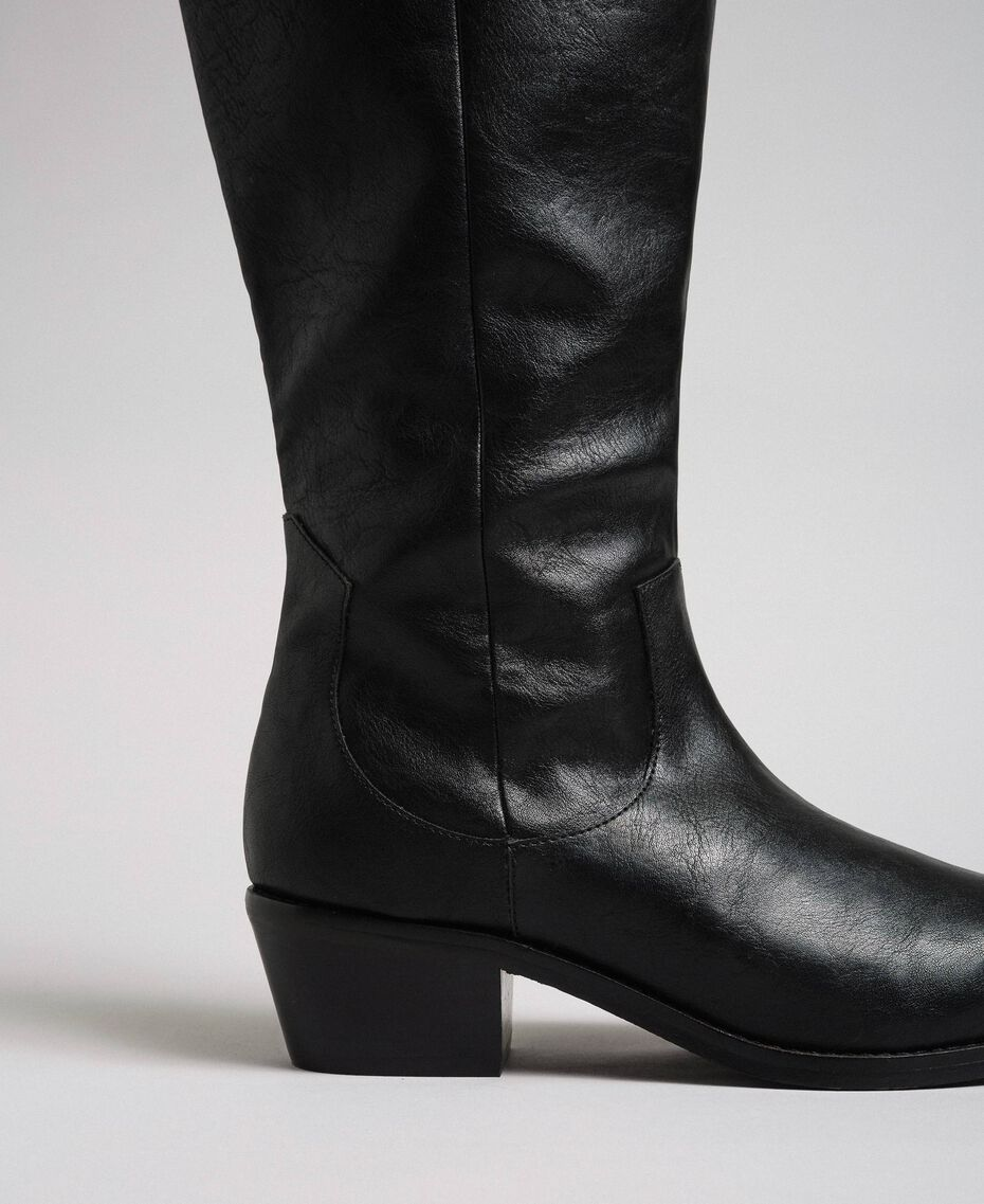 Texas boots with straps, chain and pearls Black Woman 192MCP014-05