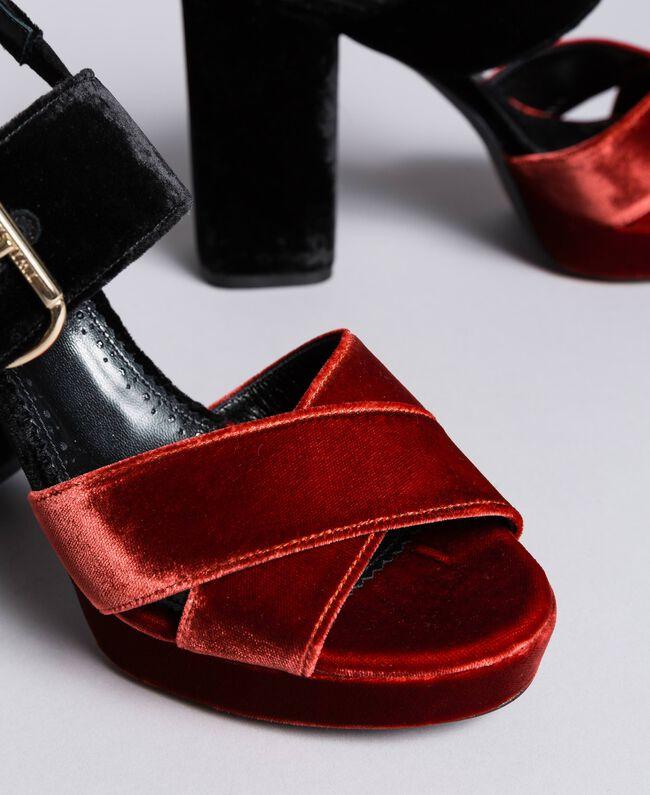 Sandales compensées en velours bicolore Bicolore Noir / Orange Brûlée Femme CA8THG-04
