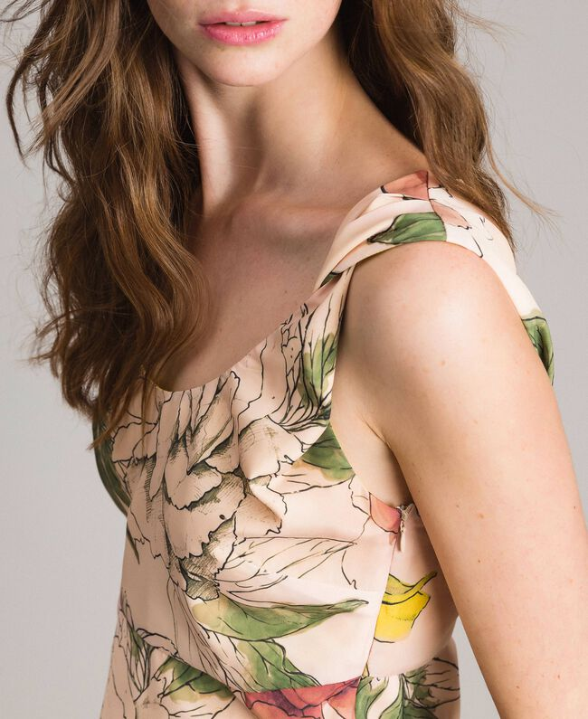 "Floral print crêpe de Chine top All Over ""Shell"" Beige Flower Print Woman 191MT2213-04"