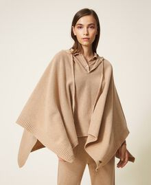 """Wool and cashmere poncho """"Pastel Skin"""" Beige Woman 202TT3013-03"""