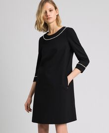 Short dress with pearl embroidery Black Woman 192TP2081-01