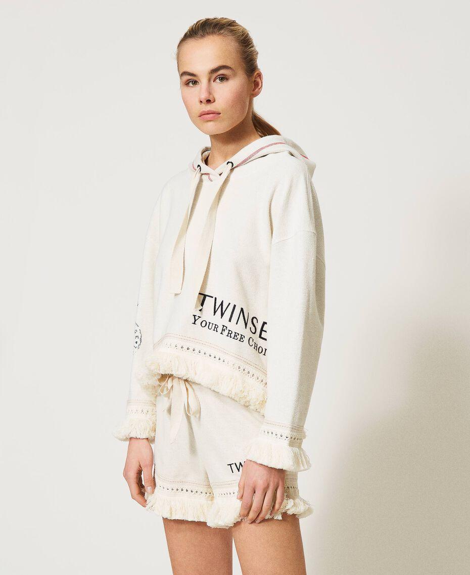 """Sweatshirt mit Logo und Fransen """"Butter Cream""""-Weiß Frau 211LL2VGG-02"""