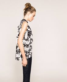 Printed georgette top with flounces White Liberty Print / Black Woman 201ST213F-04
